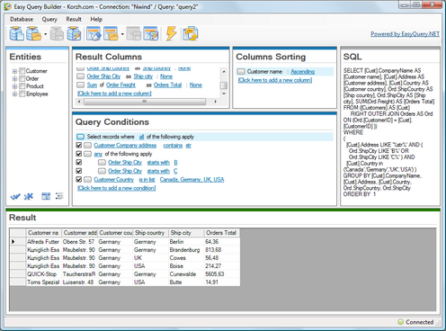 SQL query builder screenshot
